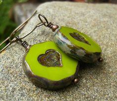 Heart Earrings Valentine Gift Idea Chartreuse by BonArtsStudio