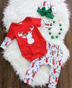 45351cfa133 year autumn winter christmas deer romper long pant three pieces set Wholesale  Baby Clothes