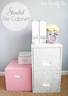 Stenciled File Cabinet at IHeart Organizing via lilblueboo.com
