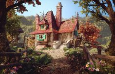 Belle's Cottage Art by Rafael Chies Rafael Chies is a Lookdev and Environment/Prop Artist from Fl Environment Concept, Environment Design, Fairytale House, Bg Design, Medieval Houses, Cottage Art, Fantasy House, Fantasy Places, Fantasy Setting