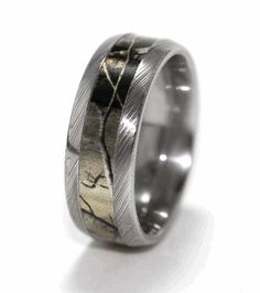 Men S Polished Damascus Steel Camo Ring