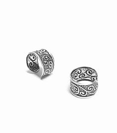 Rio Sterling Silver Oxidized Ear Cuffs - This elegant yet inexpensive ear cuff and has an elegant oxidized design that wraps around the ear. Get one today!