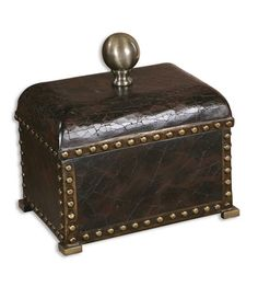 Wholesale Lighting Fixtures | Uttermost Jericho Box Home Accessory in Deep Brown Crackle 20718