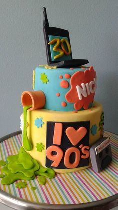 Informations About Nickelodeon I love the Fondant Cake DECOR, All That, Rugrats, Slime Cassett Nickelodeon 90s, Rugrats, 90s Theme Party Decorations, Decorate Your Own Cake, 90th Birthday Parties, Brownie Bites, Themed Cakes, Party Cakes, Sweet 16