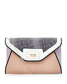 Lilac Snakeskin Colour Block Clutch  | New Look