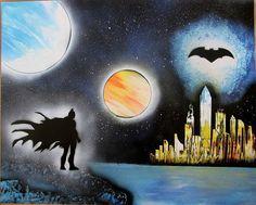 batman spray paint art kids room decor batman gifts birthday poster wallart comics by FloralFantasyDreams