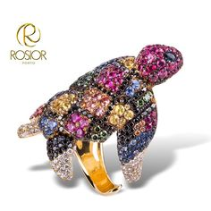 Turtle Ring Diamonds, black diamonds, Sapphires. 19,2k Gold
