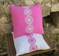 Shop for pillows on Etsy, the place to express your creativity through the buying and selling of handmade and vintage goods. Crochet Fabric, Crochet Home, Crochet Motif, Crochet Patterns, Crochet Cushion Cover, Crochet Cushions, Crochet Pillow, Coral Throw Pillows, Diy Pillows