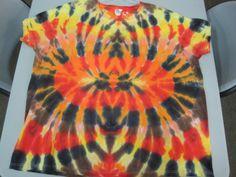 Ladies XXLarge Tie Dye Tshirt Fall colors Oranges by AlbanyTieDye, $22.00