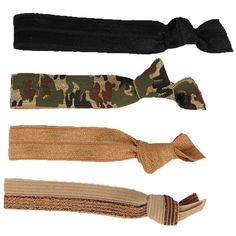 Glam Bands Camo and Neutral Hair Ties ($14) ❤ liked on Polyvore featuring accessories, hair accessories, hair, fillers, jewelry, camo, women, knotted hair ties, ponytail hair ties and elastic hair ties