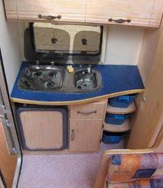Miniature travel trailer kitchen