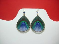 Peruvian Thread earrings Peacock colors Small Size by MachadoJFN, $10.00.