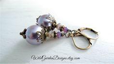 Victorian Wisteria Purple Earrings Vintage Inspired Misty Lavender Edwardian Downton Abbey Style Glass Pearl Drops Romantic Wedding Jewelry