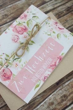 Romantisch, verspielte Glückwunschkarte im vintage Rosendesign zur Hochzeit.  Format: A6 Klappkarte Inkl. Kuvert aus Kraftpapier & Kordel