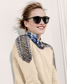 cashmere jeweled-shoulder sweater.