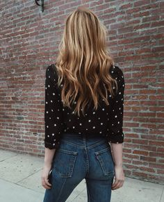 This Is The Hair Secret Busy Women Swear By - Cute Casual Street Style Simple Dark Blue Denim Jeans And Black Sheer Blouse With White Star Detailing Embroidery