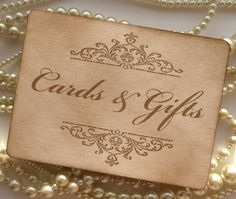 Cards and Gift Wedding Sign - Vintage Effect Sign - Gold, matching items available