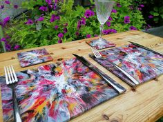 6 Tropical Ceramic placemats And Coasters, Vibrant Outdoor Dining Table Setting For Six People, Unique Acrylic Pour Garden Party Set Ceramic Coasters, Tile Coasters, Outdoor Dining, Dining Table, Beautiful Gifts For Her, Paper Gifts, Zero, Table Settings, Boho Ideas