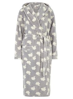 Grey Bunny Print Dressing Gown