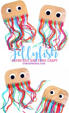 Paper Bag Jellyfish Craft #summer #summercraft #oceancraft #underthesea #jellyfishcraft #paperbagcraft #yarncraft #kids #craft #kidscraft #kidcrafts