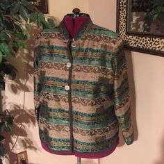 Multi-colored Jacket Soft material with a gorgeous sheen of greens and tans. Small slits at hips and wrists, button front. Very comfortable. Anthology Plus Jackets & Coats Blazers