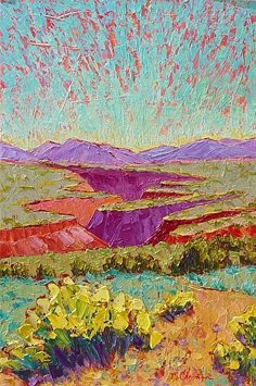 """Full Bloom at Taos Gorge, 30x20 by Michelle Chrisman Acrylic ~ 30"""" x 20"""""""