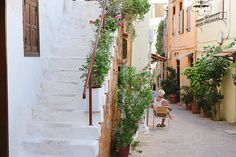 Encore! Life, | ♕ |  Chania alley, Greece  | by © Hilda Grahnat...
