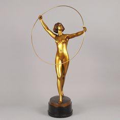 "Bronze statue Dancer With Hoop by Gotthilf Jaeger Ca1930 Austria. 33.46""H."