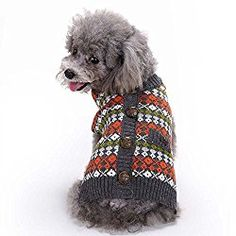 British Style Pet Sweater, Lotus.flower Cat Dog Puppy Plaid Knitted Clothing Knitwear Outerwear Soft Warm Winter Clothes (S)