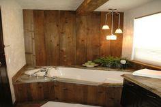 More circular sawn cedar accents! Cedar Siding, Side Wall, Corner Bathtub, Rustic, Interior, Projects, Room, Country Primitive, Log Projects
