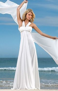 White Empire Halter Chiffon #Wedding Dress