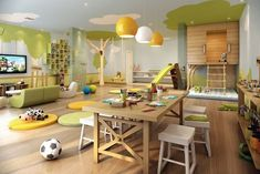 Things to Consider before Making Kids Playground Design Daycare Design, Playroom Design, Playroom Ideas, Kid Spaces, Small Spaces, Play Spaces, Modern Contemporary Homes, Home Daycare, Playground Design