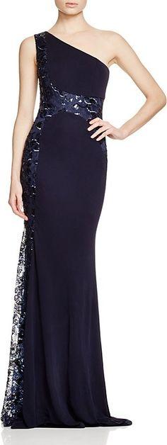 David Meister Embellished One-Shoulder Dress | David meister and ...