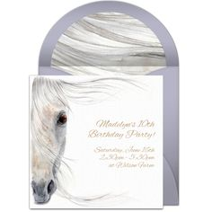 A great free party invitation featuring a beautiful horse illustration design. We love this for inviting friends to a horse themed birthday party.