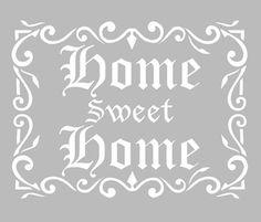 Pochoir Adhésif 28 x 20 cm CADRE SWEET HOME Stencil Templates, Stencil Diy, Stencil Designs, Silhouette Pictures, Silhouette Portrait, Decoupage, Etiquette Vintage, Graphics Fairy, Card Kit