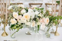 An elegant spring wedding at the San Ysidro Ranch with a luxe all-neutral tablescape covered in candles, florals and dreamy white draping. Champagne Wedding Flowers, Church Wedding Flowers, Low Centerpieces, Wedding Reception Centerpieces, Wedding Arrangements, Centerpiece Ideas, Reception Ideas, Chic Wedding, Spring Wedding