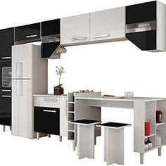 Cozinha Completa Palmeira Nobilis Kit 8 8 Peças Branco/Preto
