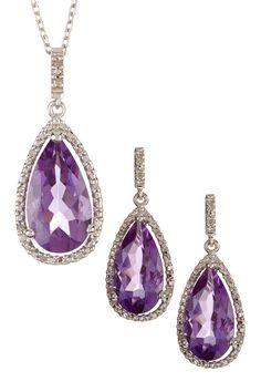 Pave Diamond & Amethyst Teardrop Pendant Necklace & Earrings Set