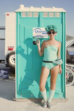 Katie on Color Day, making that Porta-Potty look better than it ever will again. August 2013, Black Rock, Burning Man, Hunter Boots, Photography Tips, Rubber Rain Boots, City, Color, Style