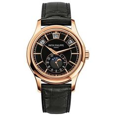 Patek Philippe 5205R-010 - Rose Gold - Men - Complications Mechanical self-winding movement Caliber 324 S QA LU 24H/206 Annual Calendar Day, date, month in apertures Moon phases and 24-hour dial Sweep seconds hand Dial: black laquered, gold applied hour markers Strap: alligator with square scales, hand-stitched, shiny black Prong buckle Sapphire-crystal case back Water resistant to 30 m Rose gold Case diameter: 40.2 mm