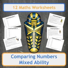 Over 100 questions on 12 sheets covering comparing single digit numbers up to 6 digit numbers. Worksheets cover a range of difficulties and even include questions with decimals. This bundle contains 3 Ancient Egyptian themed worksheets filled with word problems!Suitable for Elementary school students (US) and Primary school students (UK).Includes both colour and black and white copies of each worksheet and each answer page!Inside you will find1 sheet of Ancient Egyptian themed word problems…