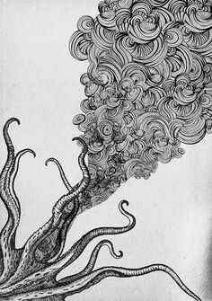 """""""Ink From A Vein (Tiny Illustration)"""" Illustration by TheSerpentTheCharmer Octopus Art, Ink Art, Illustration, Art Drawings, Drawings, Drawing Illustrations, Art, Ink, Mouse Drawing"""