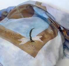 Four Directions Blue Fringed Silk Scarf by PeregrineSilk on Etsy, $125.00