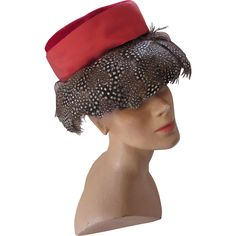 Unique Mid-Century Hat in Red Velvet and Black and White Speckled Feathers Union Made