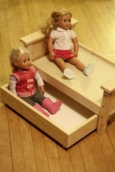 Doll Bed and Trundle pattern & tutorial (ana-white.com) Hmmm... the bunk beds or the trundle?
