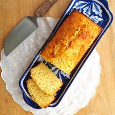 Pan de Elote (Mexican corn bread). 100 grams (3.53 oz) butter1 can (397 gr) condensed milk6 white corn cobs (about 3½ cups of corn kernels)4 eggs1 teaspoon baking powder