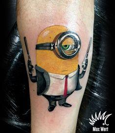 Minion tattoo by Max Wert kipodd@gmail.com Partner Tattoos, Couple Tattoos, Minion Tattoo, Paper Airplane Tattoos, Minions, Tattoo Images, Tattoo Pics, Tattoo Ideas, Tatto For Men
