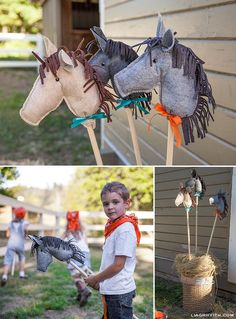 Yee Haw!  Farm Party by Lisa Frank and Lia Griffith: DIY stick horses (tutorial and pattern at liagriffith.com)