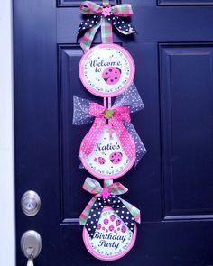 Front door ladybug birthday sign