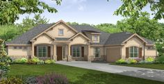 i love the front view of this home. and especially how they 2 big windows stand alongside the front door.